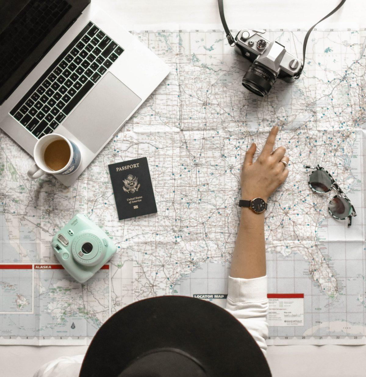 Tools Of The Trade, Map, Passport, Laptop, Sunglasses, Camera