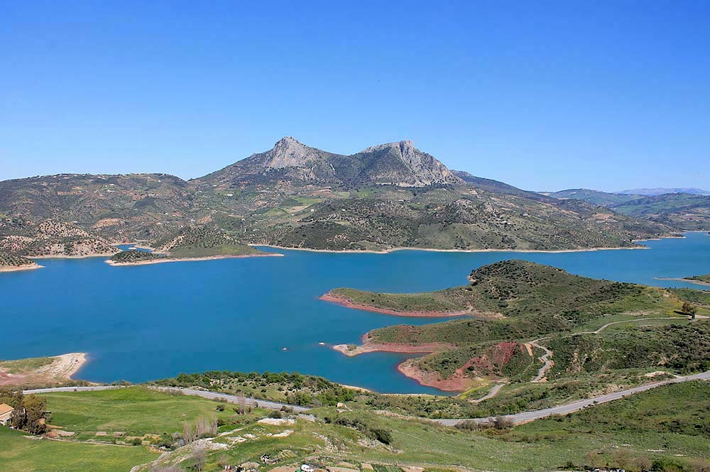 Lake Zahara turquoise lake, aerial view, Edible BIke Tours, Zahara de la Sierra, Spain