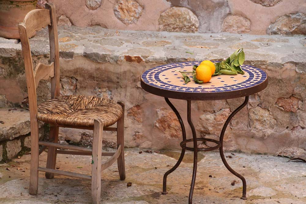 Spanish oranges on a table in a typical Andalucian Village, Edible Bike Tours, Spain