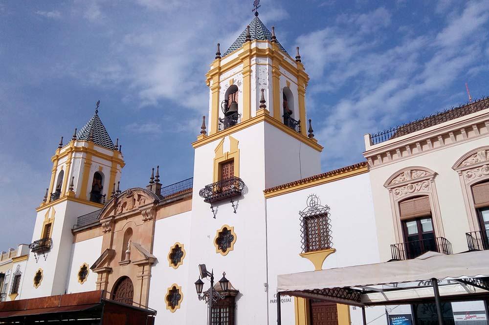 montejaque church in main square, edible bike tours, electric bike trips