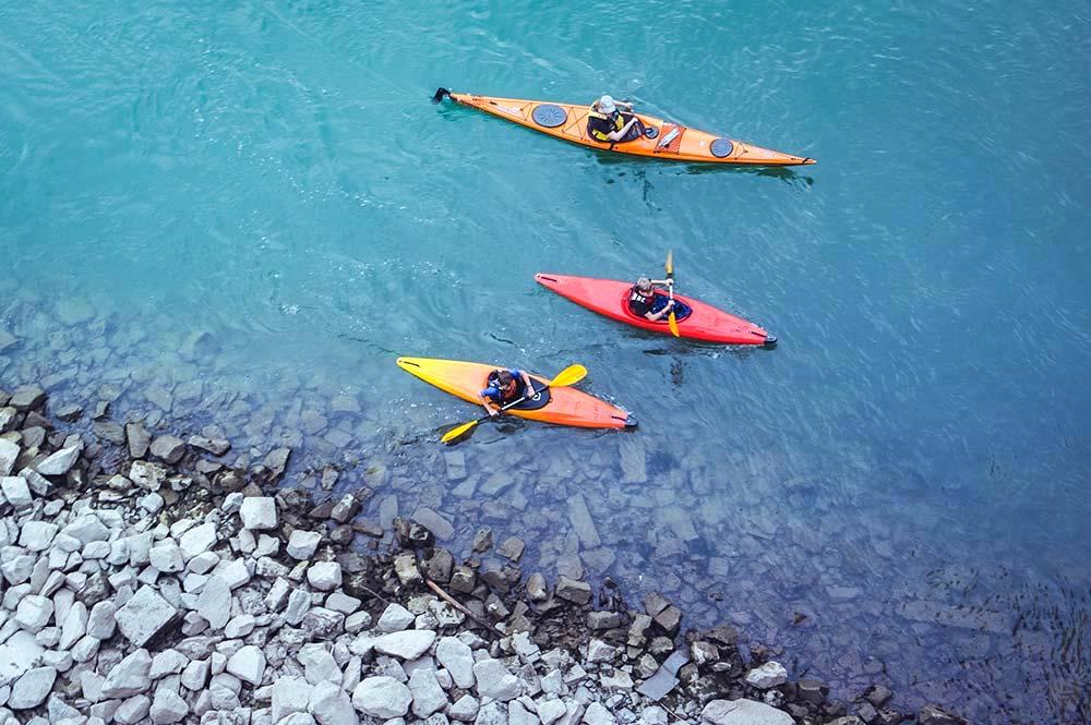 Aerial shot of people kayaking, Lake Zahara, Edible Bike Tours by ebike
