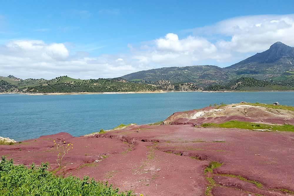 Red rock lookout at Lake Zahara, Edible Bike Tours, Zahara, Spain