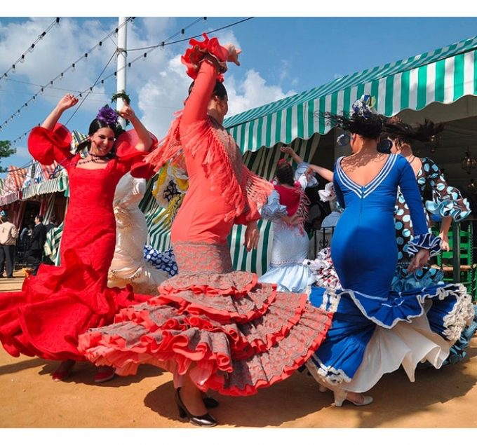 Sevilliana Locals Dancing At The Seville Fair, Andalucia, Spain